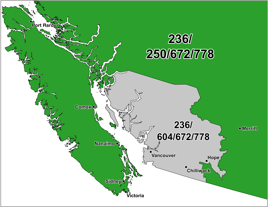 CNA Canadian Area Code Maps – Map of Canada Bc