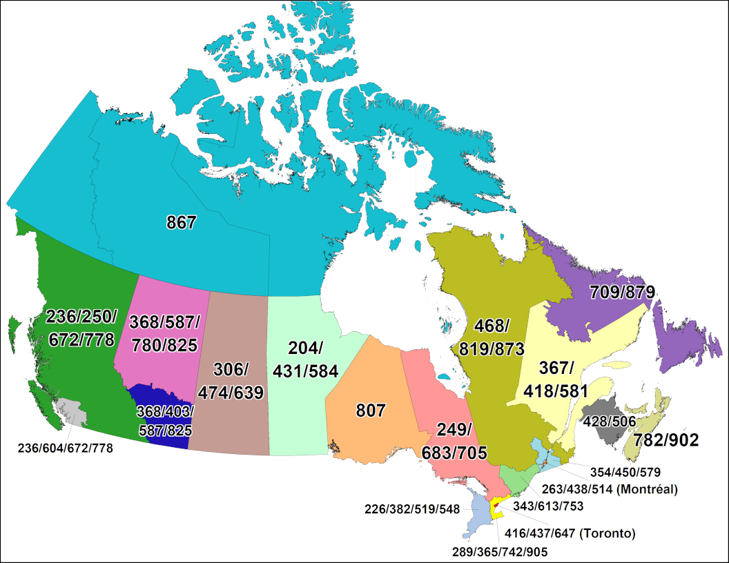 Complete Map Of Canada.Cna Canadian Area Code Maps