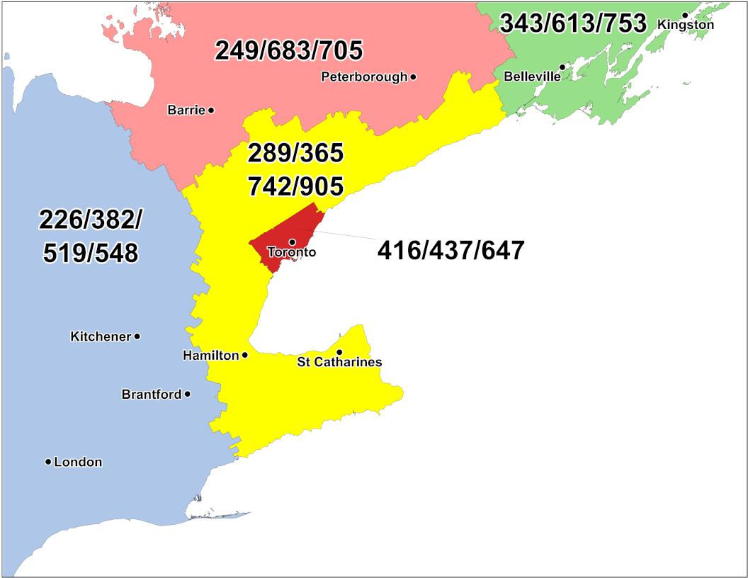 CNA -Canadian Area Code Maps